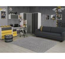 Детская комната Оникс, цвет - карбон, белый, желтый, стиль - современный