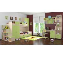 Детская комната Формула мебели Дельта Композиция 1, цвет - зеленый, дуб молочный, стиль - современный