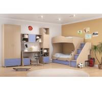 Детская комната Формула мебели Дельта Композиция 4, цвет - дуб молочный, синий, стиль - современный