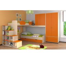 Детская комната Формула мебели Дельта Композиция 6, цвет - дуб молочный, оранжевый, стиль - современный