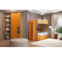 Детская комната Формула мебели Дельта Композиция 7, цвет - дуб молочный, оранжевый, стиль - современный