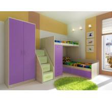 Мебель для детской Фанки Сити, комплектация 1, цвет - сосна нордик, фиолетовый, стиль - современный