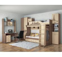 Детская комната Орион Комплект 1, цвет - ясень шимо темный, дуб сонома, стиль - современный