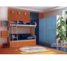 Мебель для детской Фанки Сити, комплектация 5, цвет - сосна нордик, голубой, стиль - современный