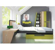 Детская комната Szynaka: Wow, цвет - дуб, графит, зеленый, стиль - современный
