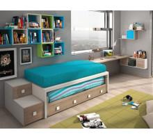 Детская комната Joype Diez - 1, цвет - белый, бирюзовый, дуб, стиль - современный