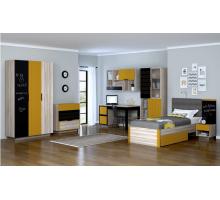 Детская комната Граффити №1, цвет - «ясень ориноко», «охра глянец», грифельная краска, стиль - хай тек