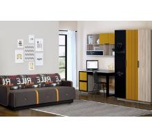Детская комната Граффити №3, цвет - «ясень ориноко», «охра глянец», грифельная краска, стиль - Хай тек
