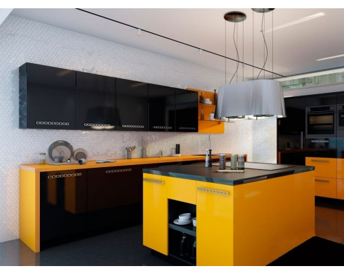 Кухня Глория с островом, цвет - черный, оранжевый, стиль - лофт