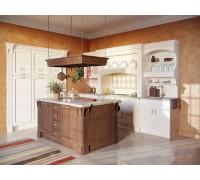 Кухня Гортензия, цвет - коричневый, слоновая кость, стиль - ретро