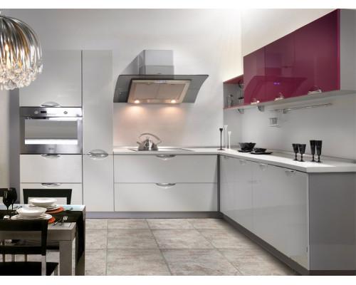 Кухня Диона с островом, цвет - яркий, черный, красный, стиль - модерн
