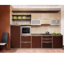 Кухня Моника маленькая, цвет - бежевый, венге, стиль - модерн