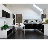 Кухня Катрин черно-белая, цвет - черный, белый, стиль - лофт