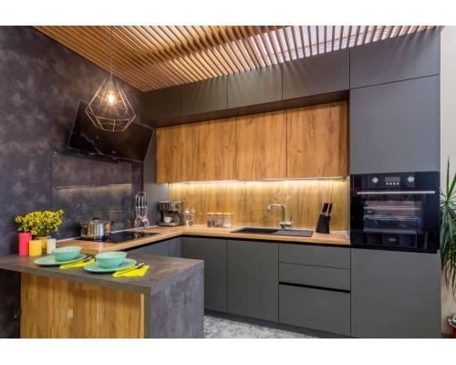 Кухня Монро, цвет - серый, дерево, стиль - модерн