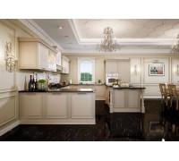 Кухня Доломита П-образная, цвет - бежевый, слоновая кость, стиль - прованс