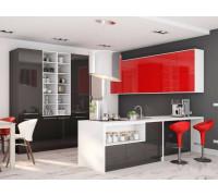 Кухня Милана, цвет - черный, красный, стиль - модерн