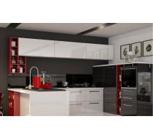 Кухня Ноя П-образная, цвет - бело-черный, стиль - лофт
