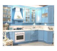 Кухня Лион П-образная, цвет - бежевый/синий/желтый, стиль - прованс