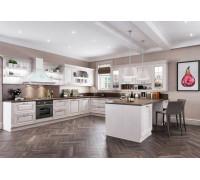 Кухня Мерано П-образная, цвет - белый, бежевый, стиль - прованс