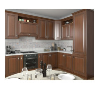 Кухня Алиери П-образная, цвет - белый/коричневый/зеленый, стиль - классический
