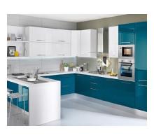 Кухня Джаз П-образная, цвет - зеленый/красный/синий/коричневый, стиль - современный