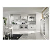 Кухня Регина П-образная, цвет - беленый дуб, серебро, стиль - лофт