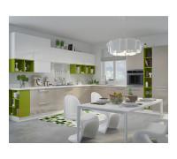 Кухня Тетрис П-образная, цвет - бежевый, зеленый, белый, стиль - современный