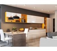 Кухня Ева с барной стойкой, цвет - слоновая кость, желтый, стиль - модерн