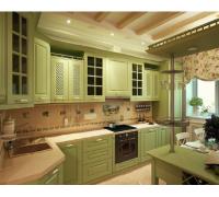 Кухня София с барной стойкой, цвет - зеленый, белый стиль - прованс