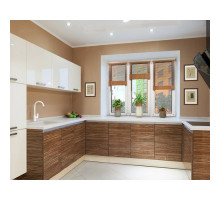 Кухня Алвик Плюс с барной стойкой, цвет - коричневый, зеленый, фиолетовый, стиль - современный