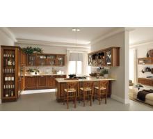 Кухня Порто с барной стойкой, цвет - коричневый, стиль - модерн