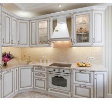 Кухня Алессандра маленькая, цвет - белый с золотом, стиль - классический
