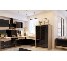 Кухня Эльвира маленькая, цвет - черный, стиль - лофт