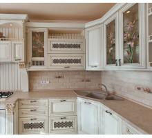 Кухня Мона Лиза маленькая, цвет - бежевый с патиной золото, стиль - классика