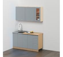 Кухня Эконом №2, цвет - синий, красный, фиолетовый, серый, стиль - классический
