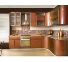 Кухня Вега Хамелеон, цвет - оранжевый, красный, коричневый, стиль - современный