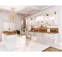 Кухня Монтебьянко, цвет - белый с золотой патиной, стиль - классический
