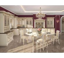 Кухня Нике Аворио, цвет - белый с золотой патиной, стиль - классический