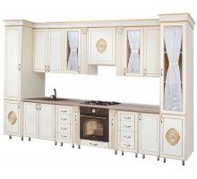 Кухонный гарнитур П-2, цвет - белый с золотой патиной, стиль - классический