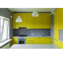 Кухонный гарнитур, цвет - яркий желтый, стиль - современный
