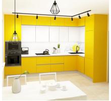 Кухня Угловая, цвет - желтый, стиль - современный