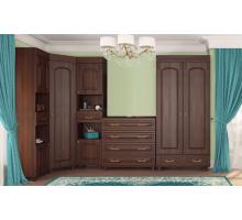 Угловая стенка Элизабет комплект 2, цвет - орех тёмный, стиль - классический