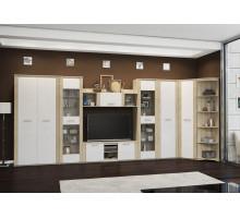 Модульная угловая стенка в гостиную Элегия 2, цвет - дуб сонома / белый глянец, стиль - классический