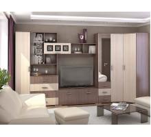 Стенка для гостиной Рошель-02, цвет - коричневый, стиль - современный