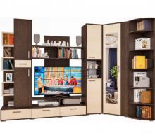 Модульная гостиная МОДЕРН - 5 с пеналом, стеллажом и угловым шкафом, цвет - венге, стиль - современный