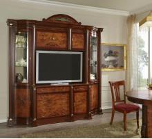Стенка с модулем тв Атланта №19-R, цвет - орех-пекан, стиль - классическая мебель