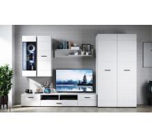 Стенка Йорк со шкафом, цвет - Белый/белый глянец, стиль - современный