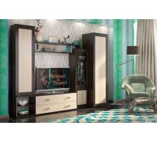 Стенка со шкафом Абель, цвет - Дуб феррара/ Ясень шимо светлый,  стиль - классический