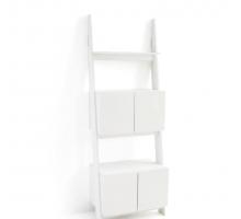 Стеллаж-лестница Domeno с четырьмя дверцами в спальню, белая