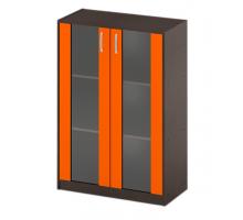 """Офисный стеллаж """"СБ-60+ДВ-62"""", цвет - венге + оранж, стиль - современный"""